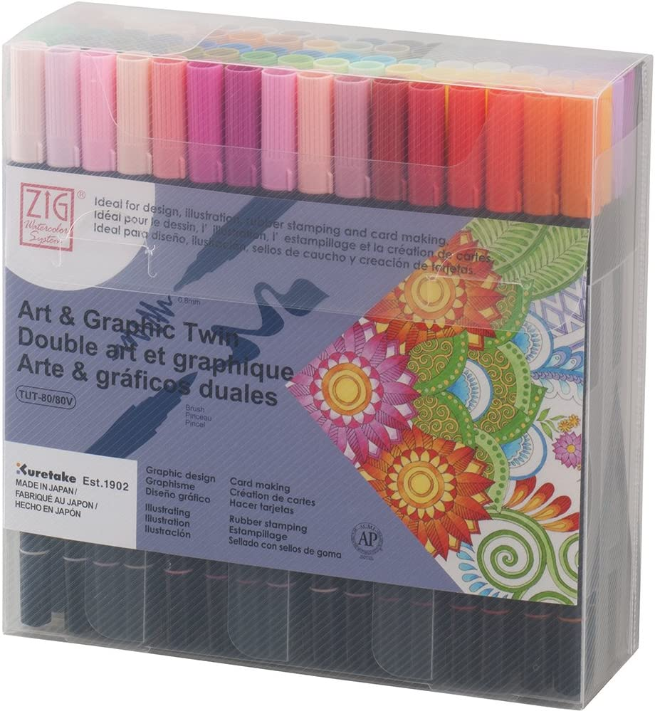 Kuretake ZIG ART & GRAPHIC TWIN 80 colors set, 0.8mm fine tip and the flexible brush, For illustrating, cartooning, Professional quality, AP-Certified, Odourless, Xylene Free, Made in Japan