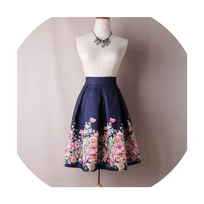 de5cdb93de Ladies Pleated Ball Gown Skater Midi Skirts Womens Vintage Floral High  Waists