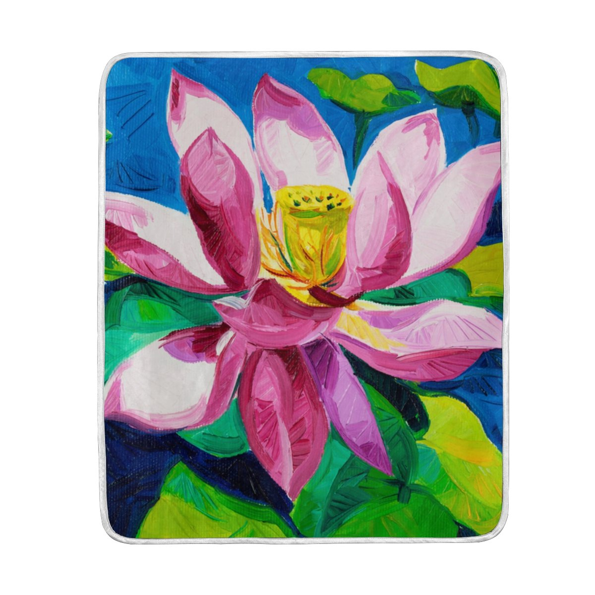 Amazoncom My Little Nest Warm Throw Blanket Oil Painting Lotus