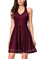 InsNova Womens Striped Halter V Neck Fit Flare Cocktail Homecoming Party Dress