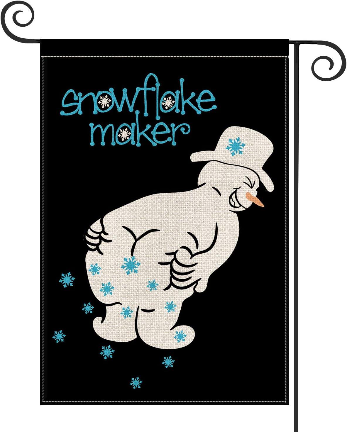 Avoin Snowflake Maker Garden Flag Vertical Double Sized Christmas Winter Holiday Snowman Yard Outdoor Decoration 12 5 X 18 Inch Garden Outdoor