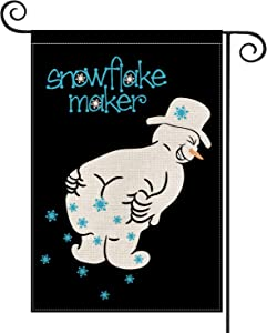 AVOIN Snowflake Maker Garden Flag Vertical Double Sized, Christmas Winter Holiday Snowman Yard Outdoor Decoration 12.5 x 18 Inch