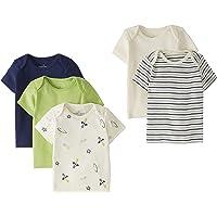 Moon and Back de Hanna Andersson - Pack de 5 camisetas de cuello redondo americano hechas de algodón orgánico para bebé