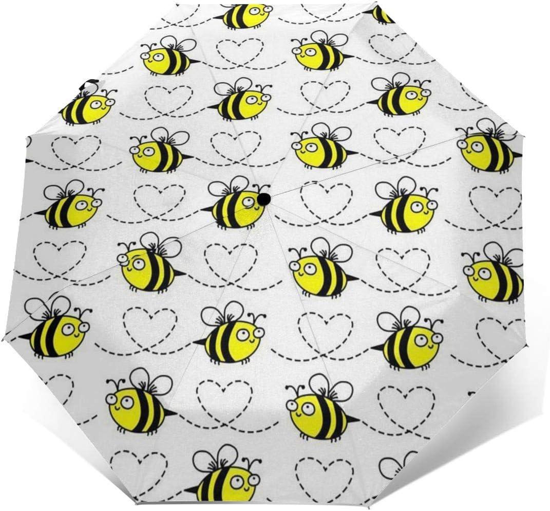 Bumblebees White Umbrella Compact Rain/&Wind Repellent Umbrellas Sun Protection With Anti UV Coating Travel Auto Folding Umbrella