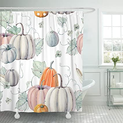 Emvency Shower Curtain Fall Watercolor Pumpkins It Is Perfect For Thanksgiving Halloween Design Recipe Harvest Waterproof
