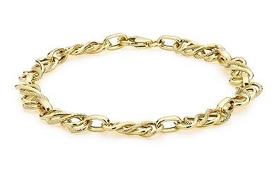 Carissima Gold Women's 9 ct White Polished Elliptic Bracelet of Length 18 cm VG62hH6C