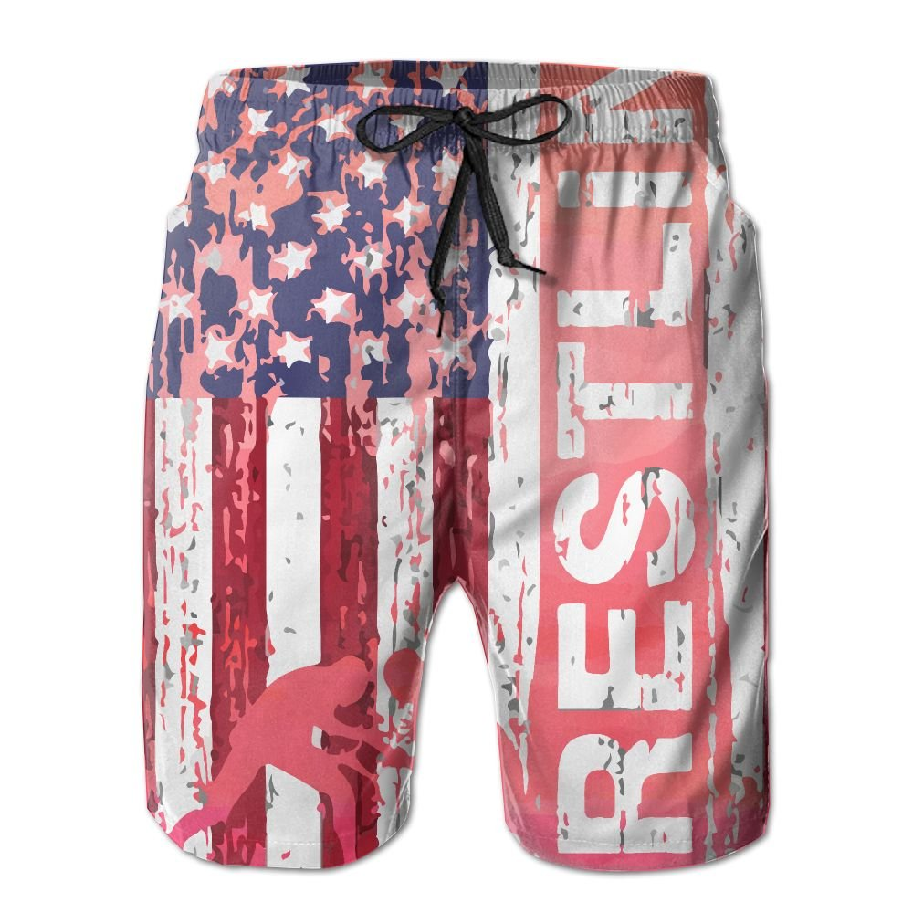 Men's Wrestling American Flag Tropical Quick Dry Board Shorts Swimming Volley Beach TrunksXL by Sorityo