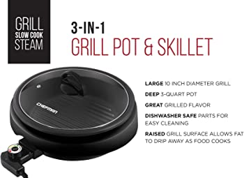Chefman 3-IN-1 Electric Indoor Grill Pot & Skillet