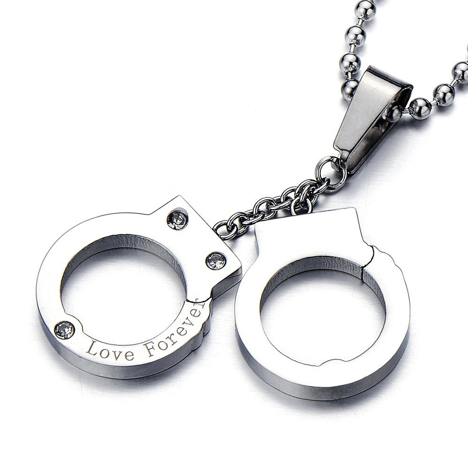 Woman/'s Biker Stainless Steel Large Handcuffs Necklace USA Seller!