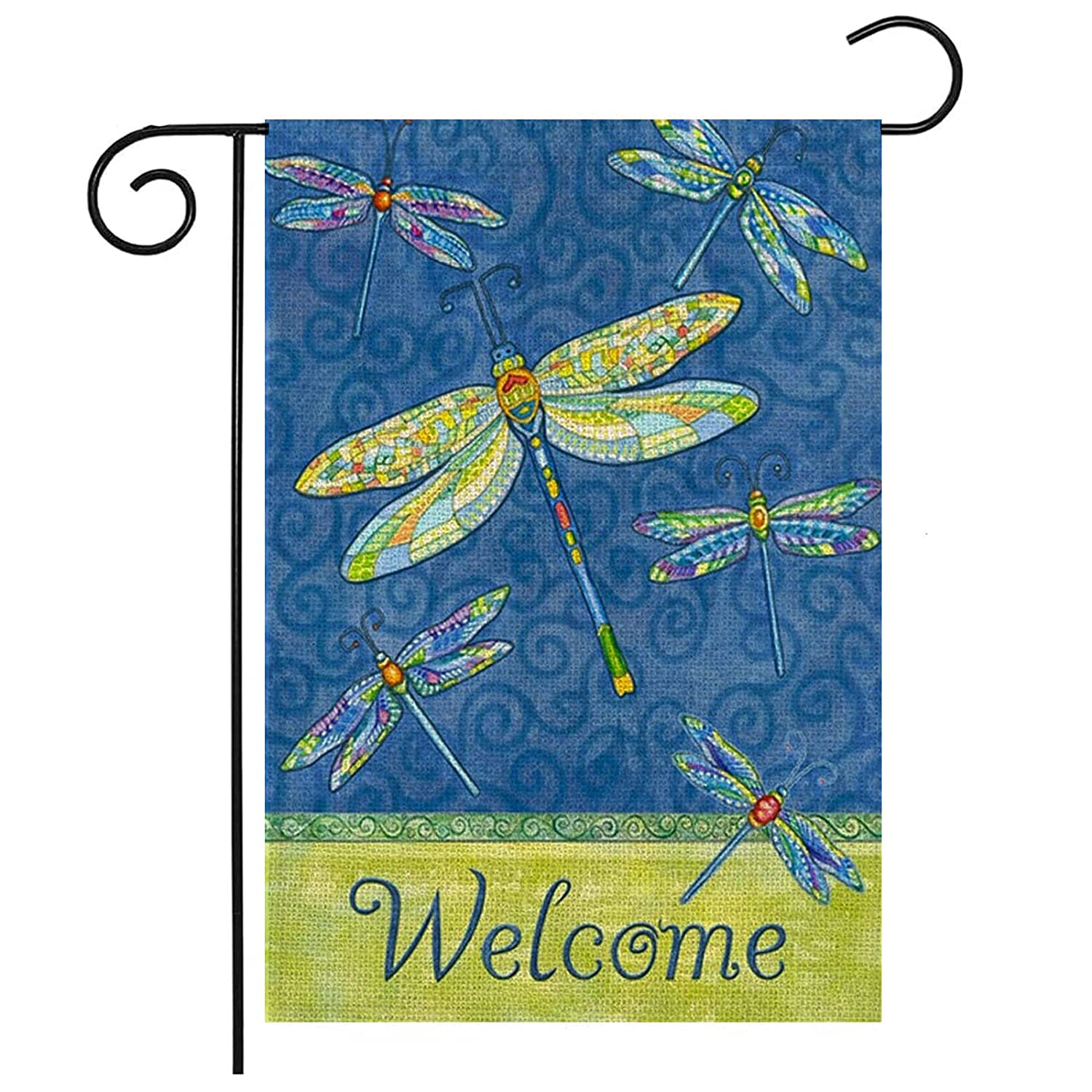 Spring Dragonfly Welcome Garden Flag 12 × 18 inch Double Sided Burlap Welcome House Flag Banners for Patio Lawn Outdoor Yard Farmhouse Home Decor (Dragonfly)