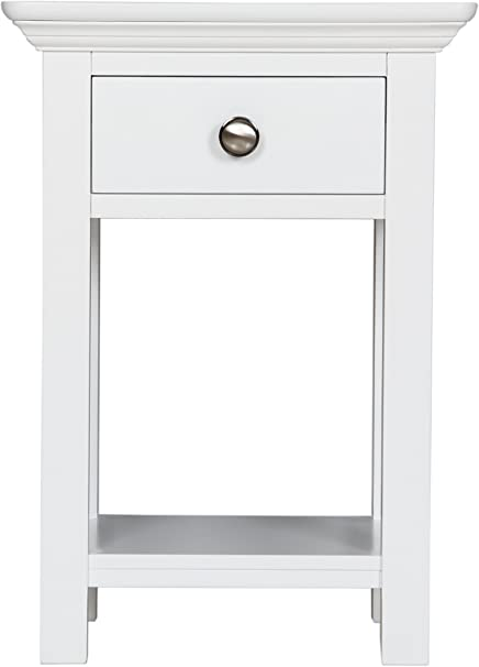 Burford Antique White Painted One Drawer Bedside Cabinet Amazon Co Uk Home Kitchen