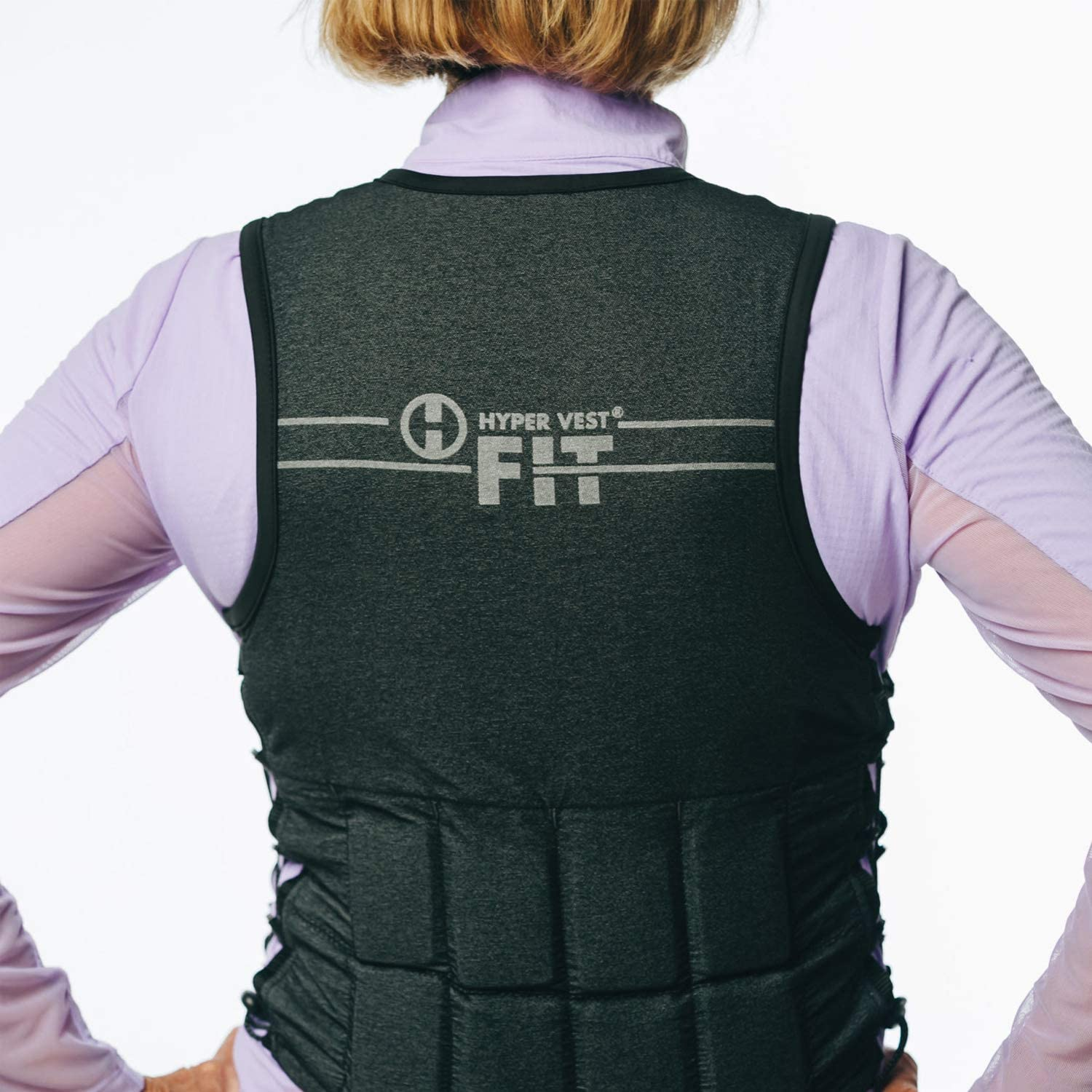 Hyperwear Hyper Vest FIT Adjustable Weighted Vest Women 5 lb or 8 lbs Running Walking Workouts Metallic Black Reflective Thin 1//2 lb Weights Designed Comfortable Female Fit