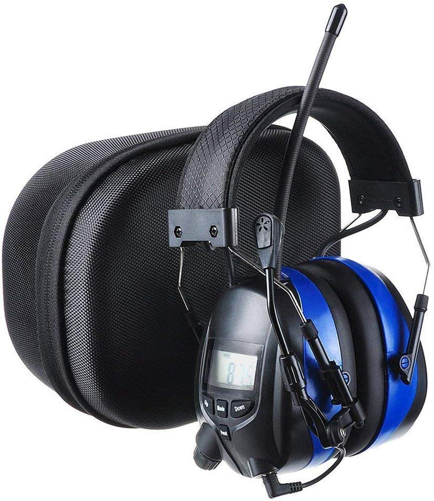 PROTEAR Bluetooth Hearing Protector Earmuffs AM/FM Radio with Boom Microphone, Noise Reduction Safety Ear Muffs with a Carrying Case, NRR 25dB Wireless Headphones for Mowing Lawn by PROTEAR