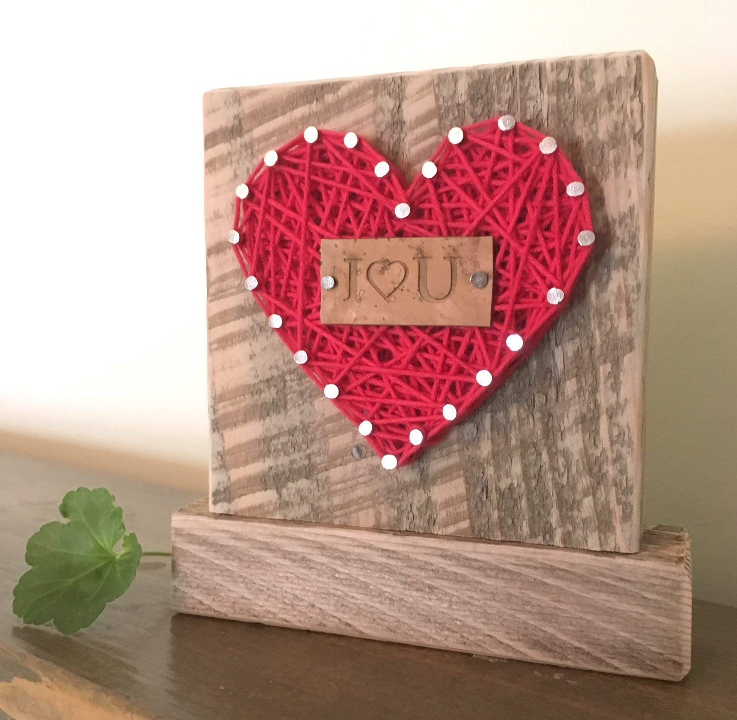 Sweet & small I love you string art heart block sign gift. Perfect for Birthday, Anniversary or just because gifts. Made in the USA by Nail it Art