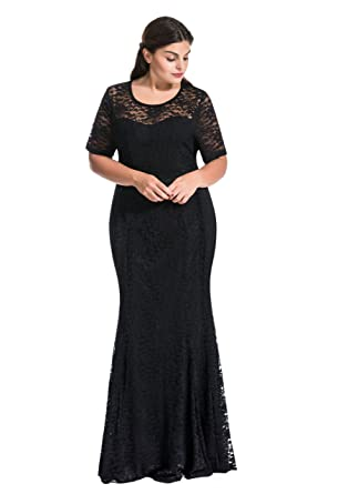 Myfeel Women Plus Size Lace Ruched Empire Waist Sweetheart Mermaid