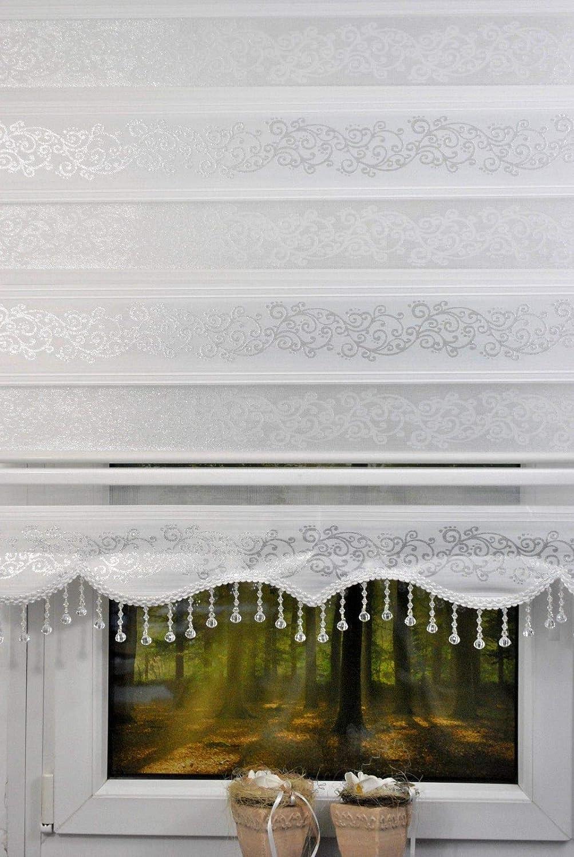 Kskeskin Duo Store enrouleur double en tissu /à paillettes Longueur 200 cm avec cassette en aluminium volants avec perles de diff/érentes largeurs