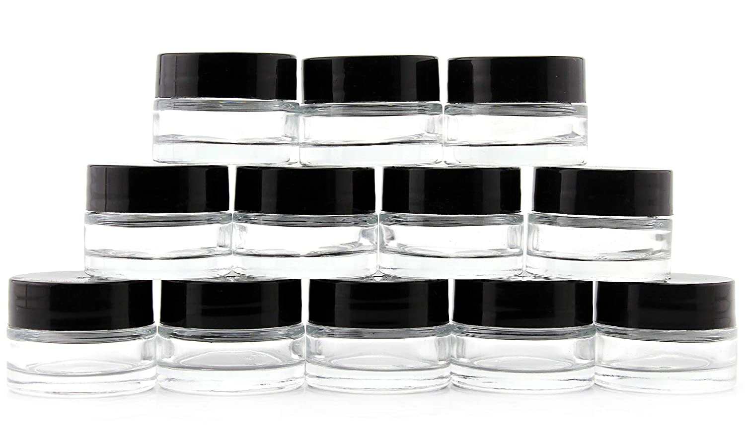 7-Milliliter Clear Glass Balm Jars 12-Pack 1 4 oz Cosmetic Jars with Lined Black Plastic Lids