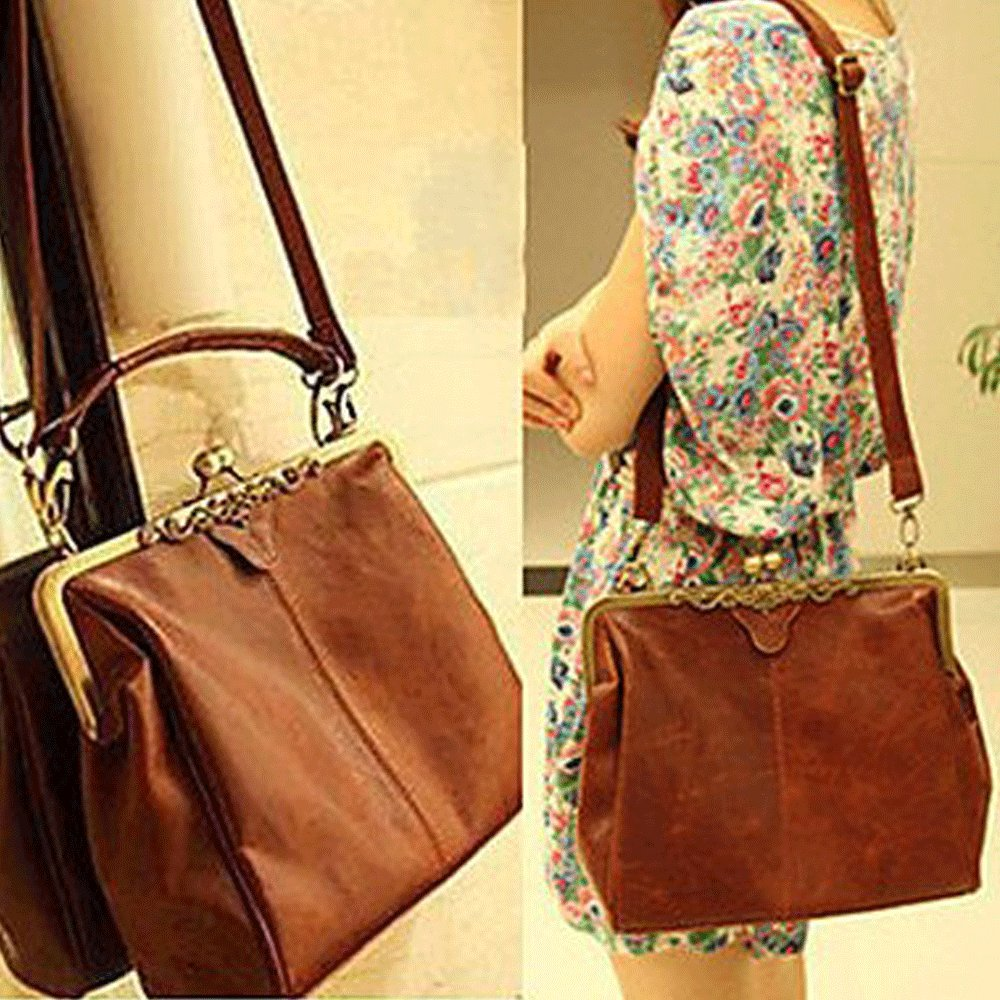 Amazon.com  Fashionbox Classic Ladies  PU Crossbody Tote Bag Vintage Casual  Message Shoulder Handbag - Vintage Brown  Beauty dc6e8be581197