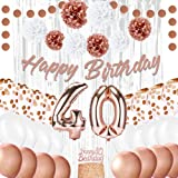EpiqueOne Rose Gold 40th Birthday Decorations for Women - Rose Gold Ribbon, Balloons, Pom Poms, Cake Topper - 41 Pieces…