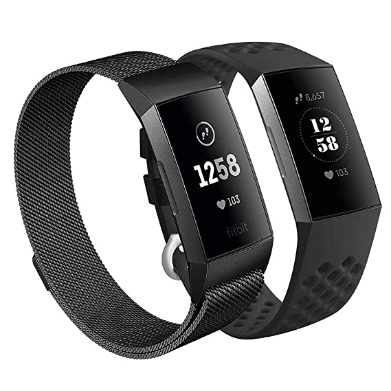 CAGOS Compatible Charge 3 Bands Women Men Sets, 2 Pack Breathable  Silicone+Milanese Loop Mesh Charge3 Bracelet Strap Replacement for Fitbit  Charge 3