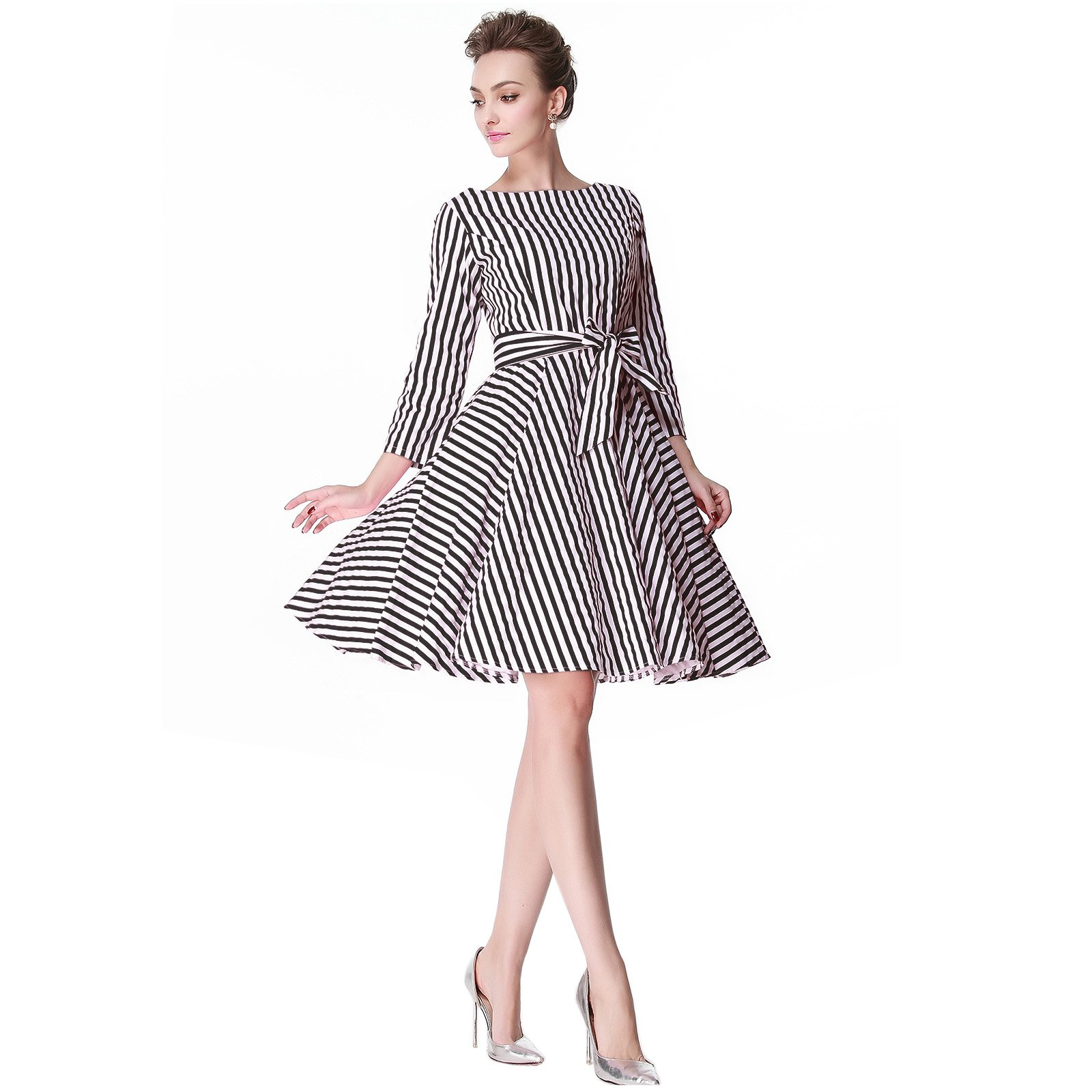 Heroecol 50s 60s Hepburn 3/4 Sleeve Style Vintage Retro Swing Rockailly Dresses Size M Color Black Stripe