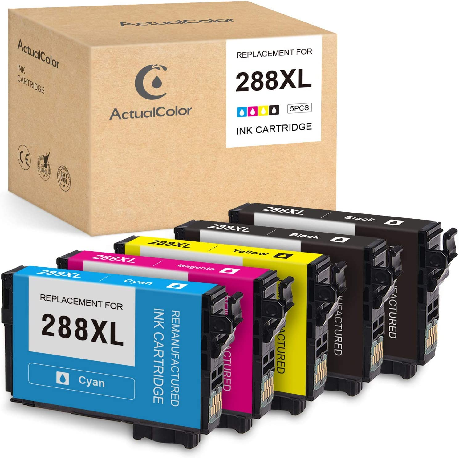 ActualColor C Remanufactured Ink Cartridge Replacement for Epson 288XL 288 XL T288XL Ink Cartridges for Expression Home XP-440 XP-430 XP-340 XP-330 XP-446 XP-434(Black, Cyan, Magenta, Yellow, 5-Pack)