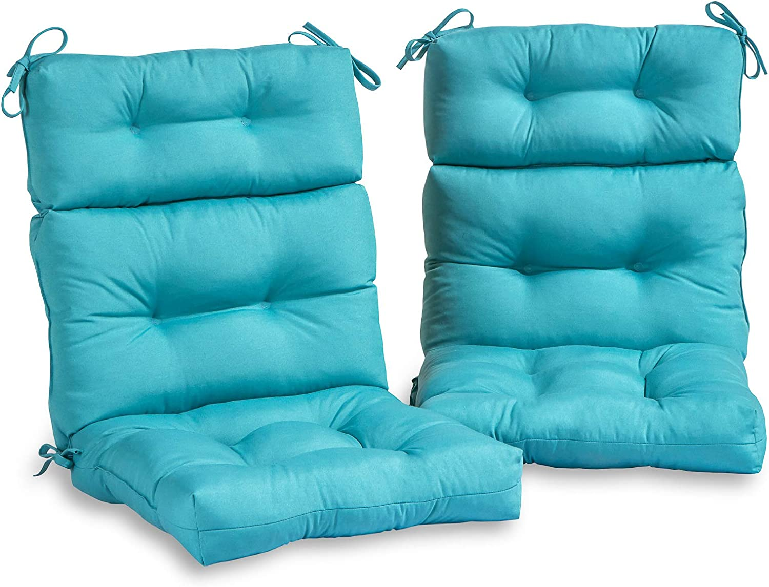 South Pine Porch AM6809S2-TEAL Solid Teal Outdoor High Back Chair Cushion, Set of 2