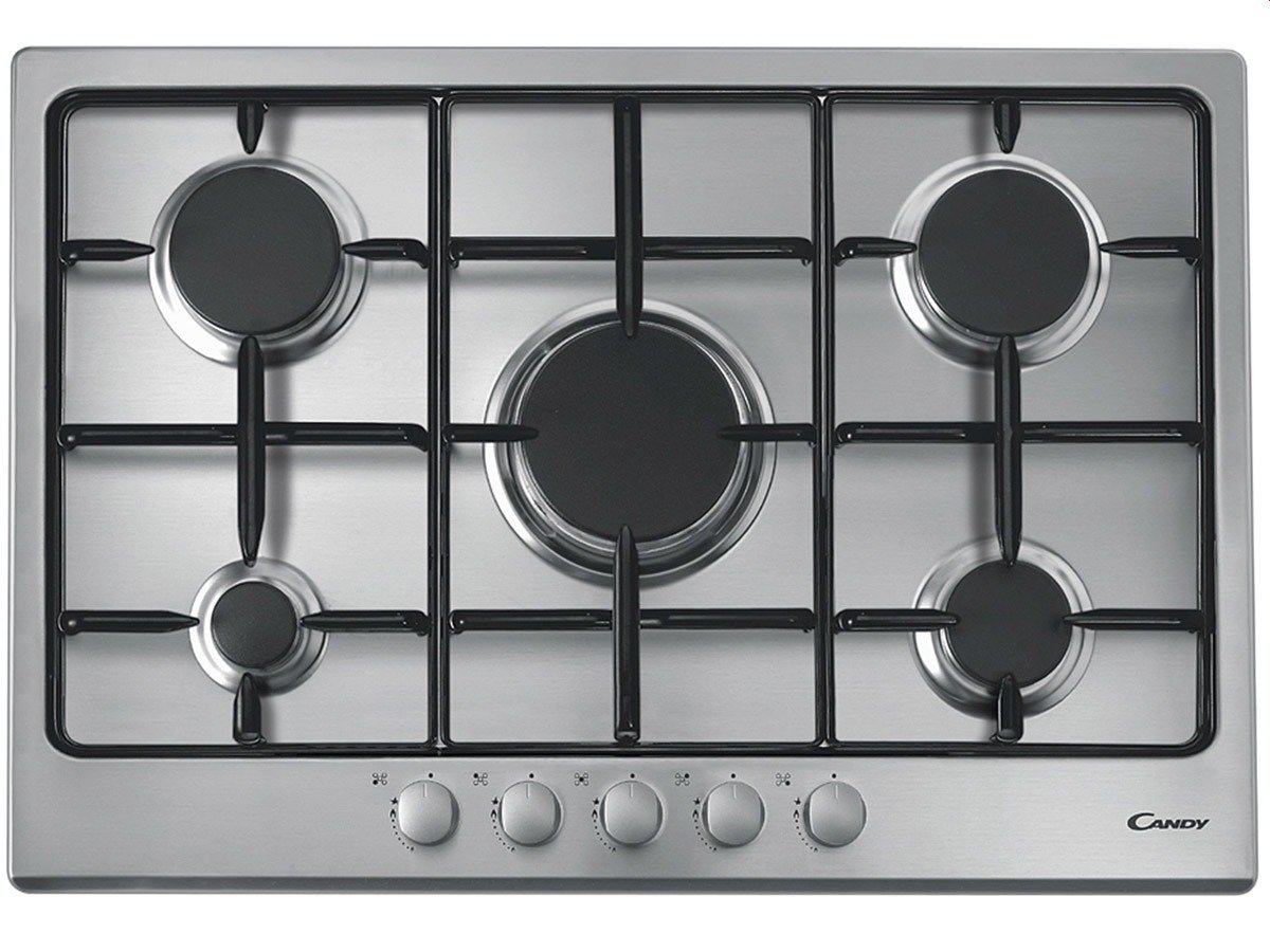 Candy CPG 75 SPX built-in Gas Stainless steel - Hobs (Built-in, Gas ...