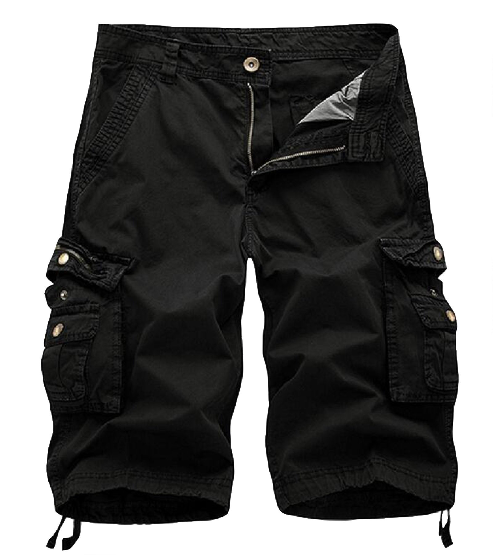 AOYOG Mens Solid MultiPocket Cargo Shorts Casual Slim Fit Cotton Solid Camo Shorts, Black 082, Lable size 36(US 34)