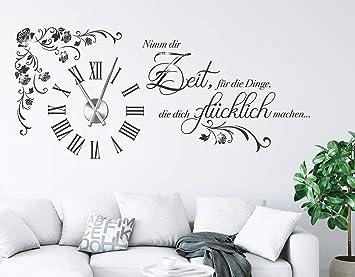 Tjapalo S Pkm475 Wanduhr Wandtattoo Uhr Mit Uhrwerk Wandsticker Nimm Dir Zeit Fur Die Dinge Die Dich Glucklich Machen M Kristallen U Uhrwerk
