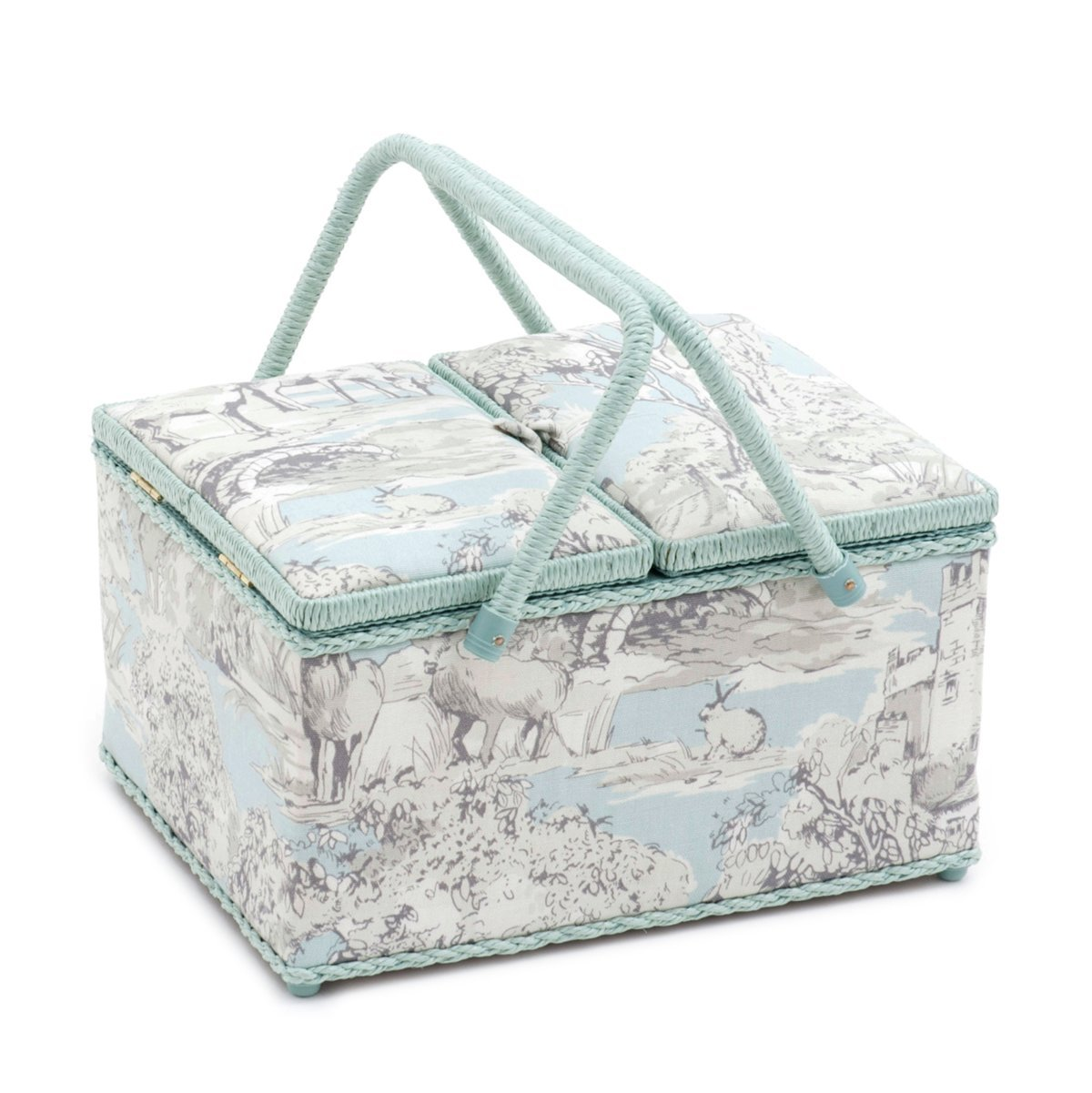 Hobby Gift 'Manor Toile' Twin Lid Rectangle Sewing Box 24 x 31.5 x 19.5cm (d/w/h) 4337015815