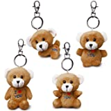 Bear of Allan Stuffed Animal Keychain Set, 4 Pcs Mini Teddy Bear Pack, I Love You Gift for Her, Assorted Gestures, Keyring Ch