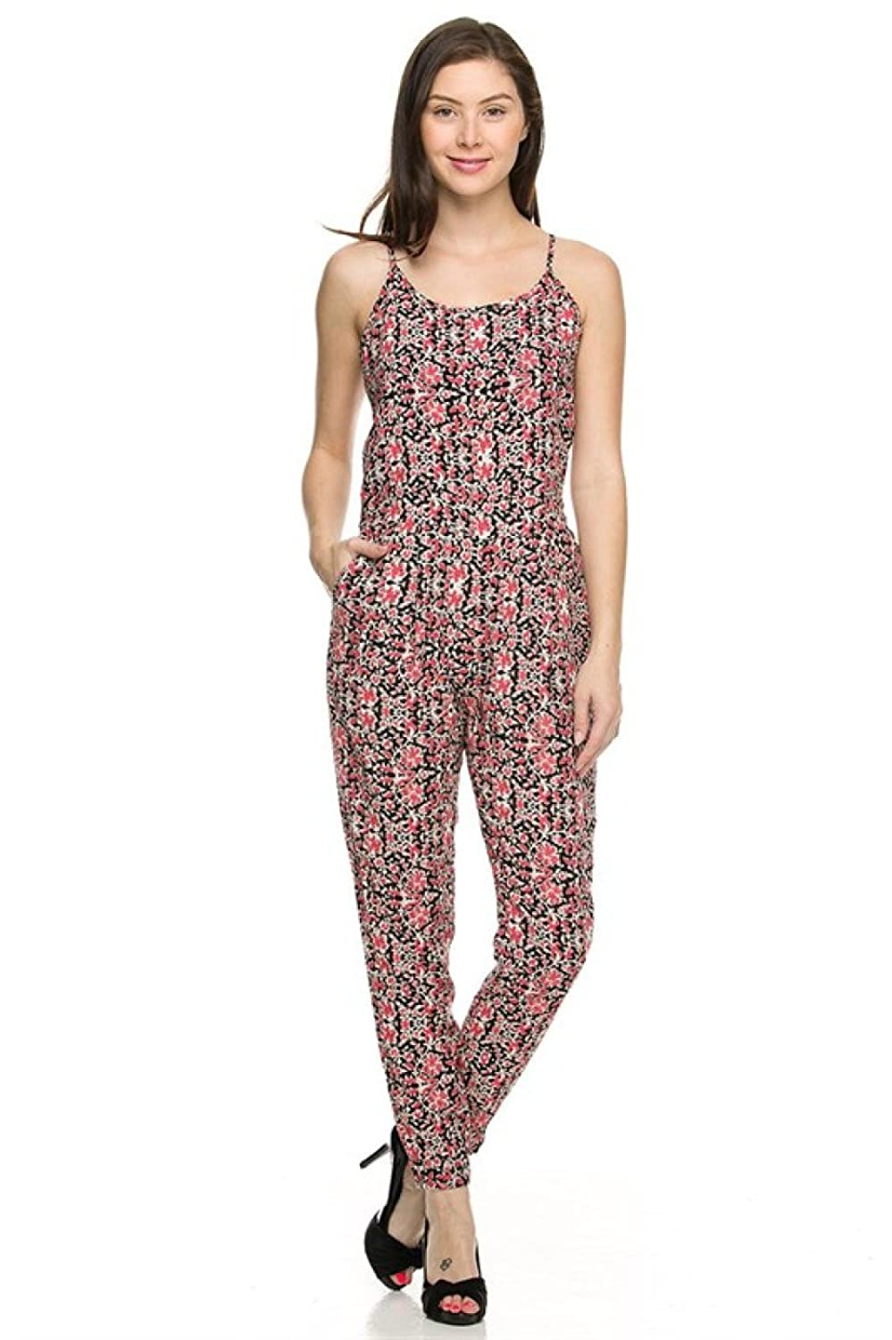 2LUV Women's Sleeveless Antique Print Slim Fit Jumpsuit