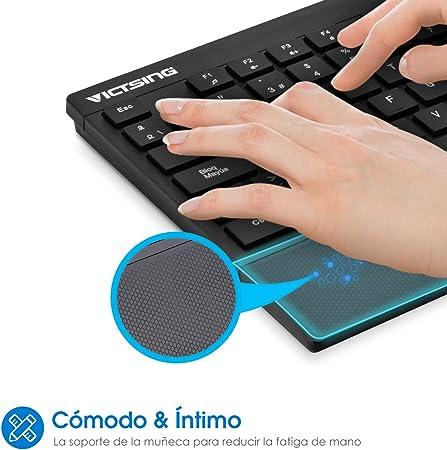 VicTsing Pack de Teclado y Ratón Inalámbricos, Teclado Inalámbricos(QWERTY Español 104 Tecla, USB, 2.4GHz, para PC, Tableta, Ordenador, Smart TV), ...