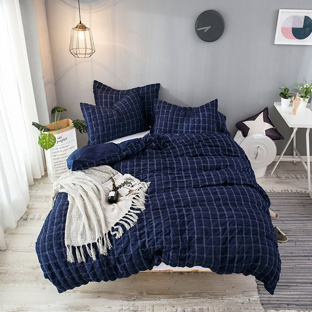 Merryfeel Cotton Duvet Cover Set,100% Cotton Yarn Dyed Seersucker Comforter Cover with 2 pillowshams,Seersucker Woven Check Bedding Set,Navy Color King