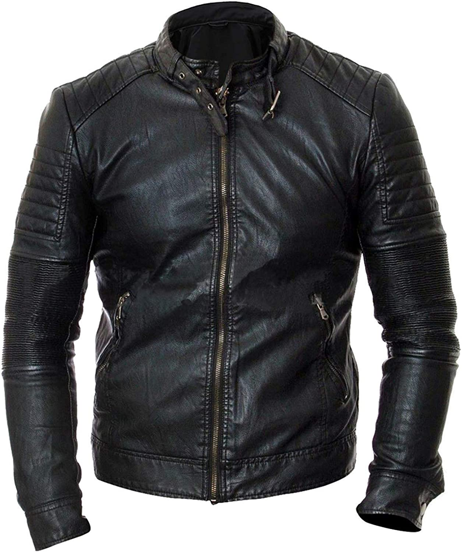 Mens Biker Vintage Quilted Brando Motorcycle Cafe Racer Lambskin Black Leather Jacket