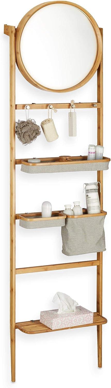 Leiterregal zum Anlehnen Badablage mit Spiegel schmales Holzregal Relaxdays Badregal f/ür Wand natur viele F/ächer