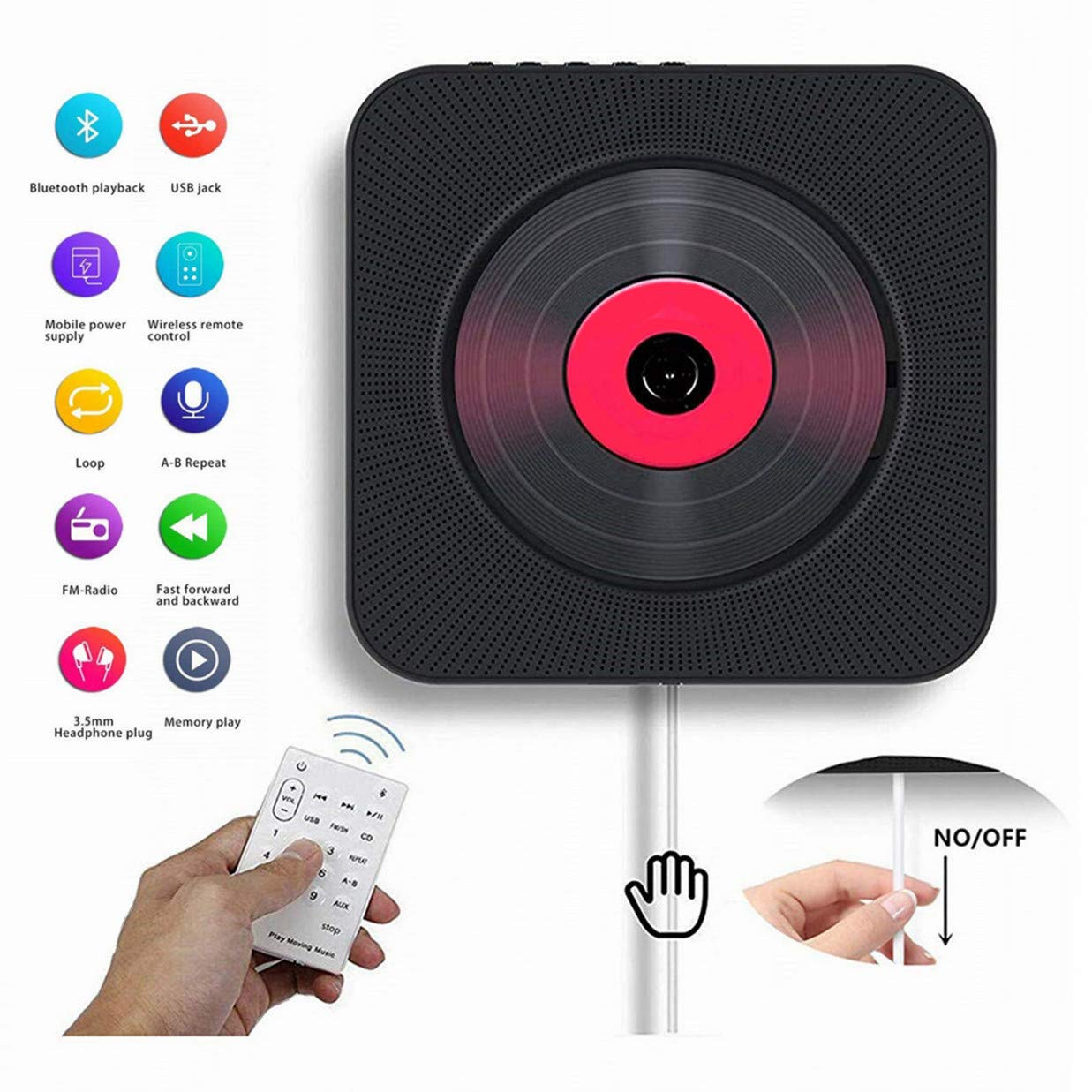 Portable CD Player with Bluetooth, Wall Mountable CD/DVD Music Player Home Audio FM Radio with Remote Control Built-in HiFi Speakers CD Music Player Supports USB, Aux Input Output 6 Playing Mo
