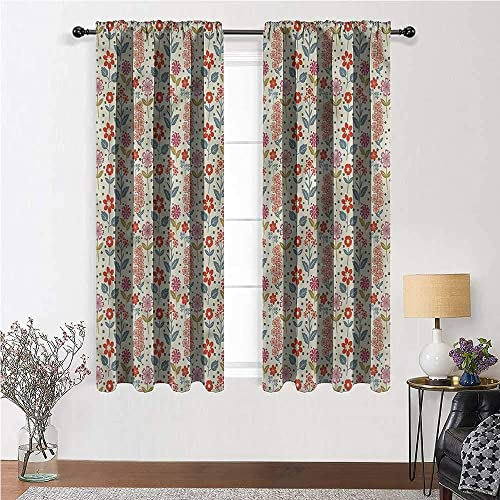 GugeABC Living Room Curtains Retro Custom Curtains Rustic Inflorescence 120 x 84 Inch 2 Panels