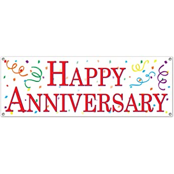Amazon.com: Happy Anniversary Sign Banner Party Accessory (1 count ...