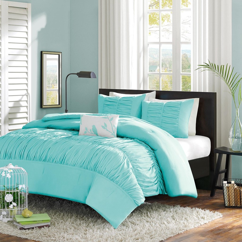 Uncategorized Aqua Bed amazon com turquoise blue aqua girls full queen comforter set 4 piece bed in a bag home kitchen