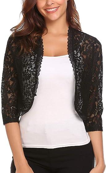 Womens Black large flower lace 3//4 sleeve Bolero Jacket Sizes UK 8 to 18