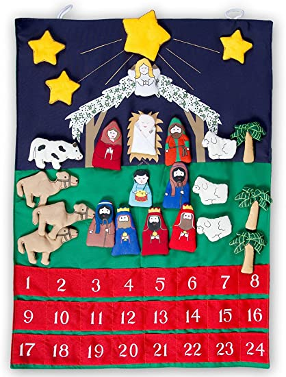Amazon Com Nativity Advent Calendar Wall Hanging Christmas Baby