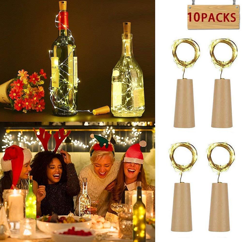 10 Stück Led Flaschenlicht Korken, MMTX 2M mit 20 LED Kupferdraht Lichterketten für Flasche DIY Dekor, Sammeln, Weinflasche Lichter Party, Deko Hochzeit, Urlaub (Warmes Weiß LED Flaschen-Licht Flaschenlichter)