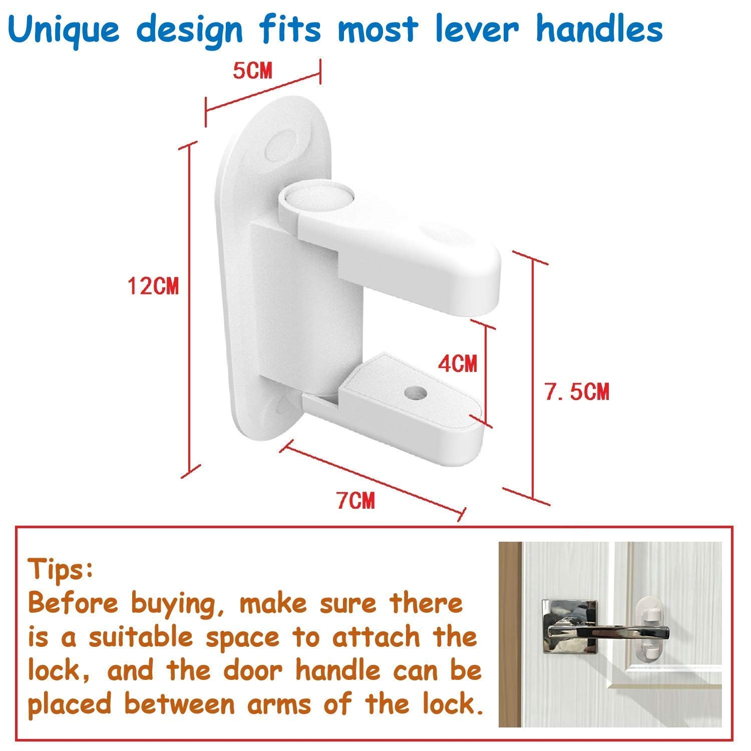 Door Lever Lock,Child Proof Door Handle Lock 3M Adhesive - Child Safety