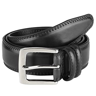 Men Genuine Leather Dress Belt Classic Stitched Design Black Brown