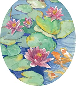 Toilet Tattoos, Toilet Seat Cover Decal, Lily Pads Blue, Size Round