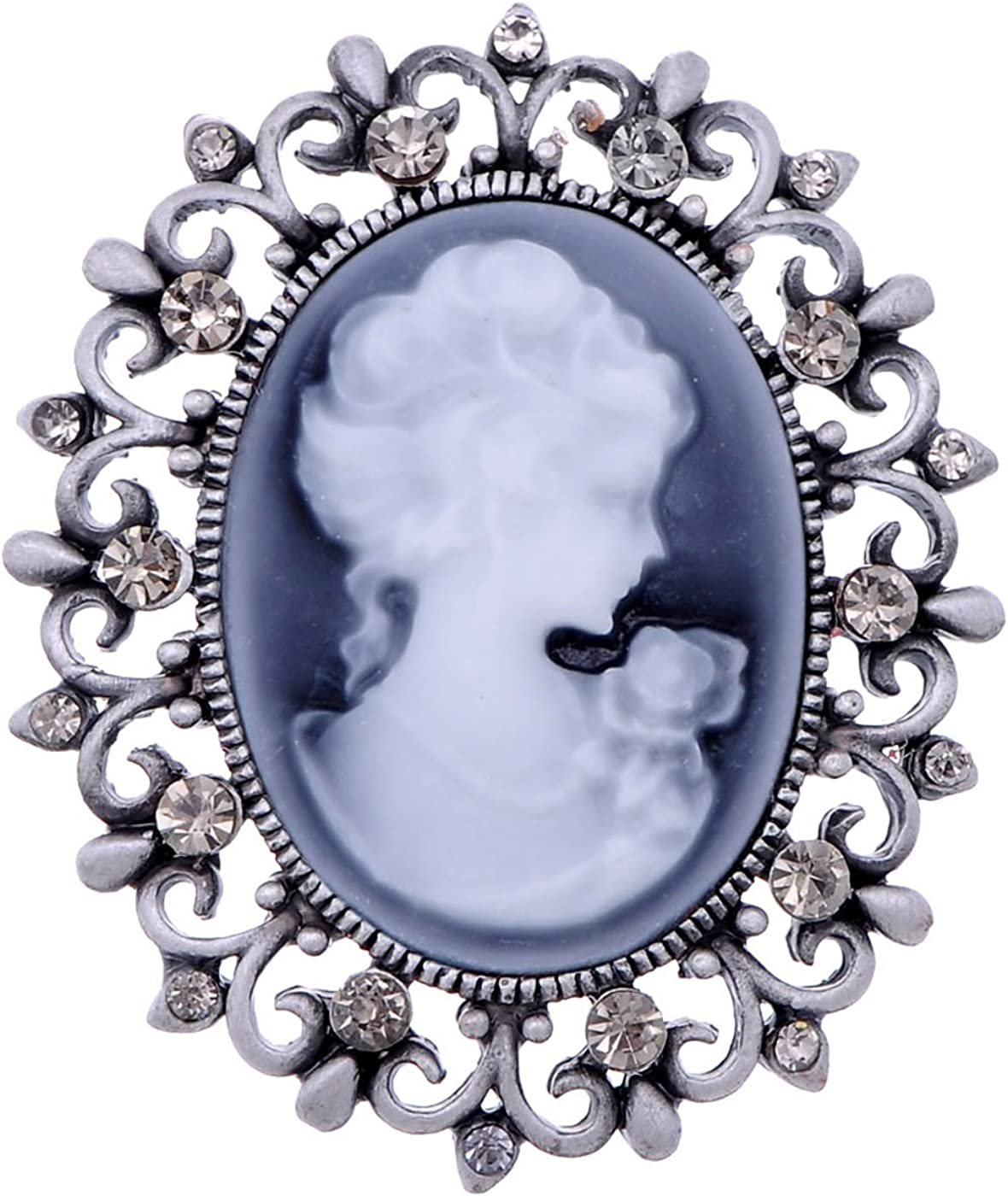 Retro Lady Woman Floral Cameo Gold Metal Vintage Brooch Pin