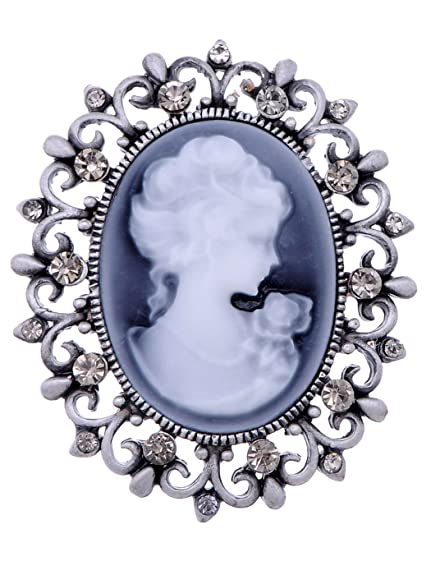 0cfe9f89fc5 Alilang Womens Antique Golden Tone Vintage Victorian Floral Purple Cameo  Lady Brooch Pin (B0768)