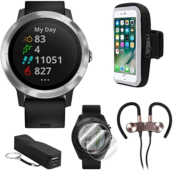 Garmin Vivoactive 3 GPS Fitness Smartwatch w/Deco Gear Runner Bundle - Black+Stainless